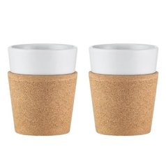 2 pcs mug with Cork Sleeve Bodum 0.3l