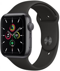 Apple Watch SE 44mm Space Gray Aluminum Case with Black Sport Band MYDT2