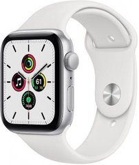 Apple Watch SE 44mm Silver Aluminum Case with White Sport Band MYDQ2