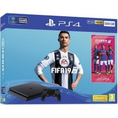 Игровая консоль Sony PlayStation 4, 500GB, Black, Slim + Fifa 19