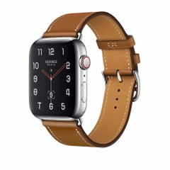 Apple Watch Hermès Stainless Steel Case with Fauve Barenia Leather Single Tour (MU9D2)