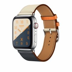 Apple Watch Hermès Stainless Steel Case with Indigo/Craie/Orange Swift Leather Single Tour (MU9D1)