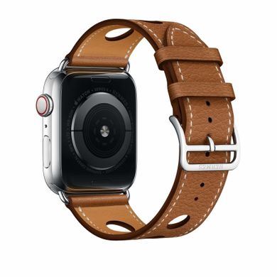 Apple Watch Hermès Stainless Steel Case with Fauve Grained Barenia Leather Single Tour Rallye (MU9D2)