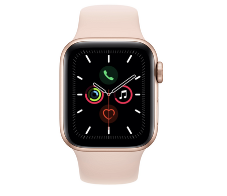 Apple Watch Series 5 44mm Gold Aluminum Case with Pink Sand Sport Band MWVE2GK/A