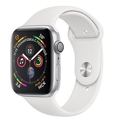 Apple Watch Series 4 GPS 44mm Silver Aluminum Case with White Sport Band MU6A2