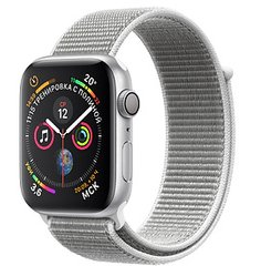Apple Watch Series 4 GPS 44mm Silver Aluminum Case with Seashell Sport Loop MU6C2