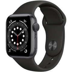 Apple Watch Series 6 44mm Space Gray Aluminum Case with Black Sport Band M00H3