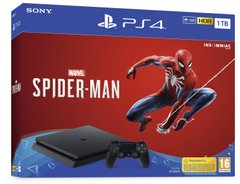 Игровая консоль Sony PlayStation 4, 1TB, Black, Slim + Spider Man