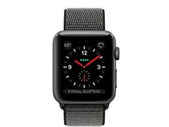Apple Watch Series 3 GPS + Cellular 38mm Space Gray Aluminum Case with Dark Olive Sport Loop