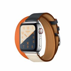 Apple Watch Hermès Stainless Steel Case with Indigo/Craie/Orange Swift Leather Double Tour (MU7K2)