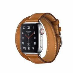 Apple Watch Hermès Stainless Steel Case with Fauve Barenia Leather Double Tour (MU6P2)