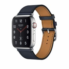 Apple Watch Hermès Stainless Steel Case with Bleu Indigo Swift Leather Single Tour (MU9D3)